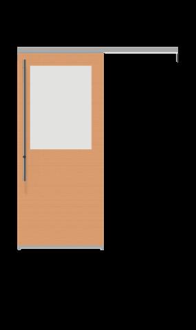 Illustration of a glass insert half sliding doors from IMT