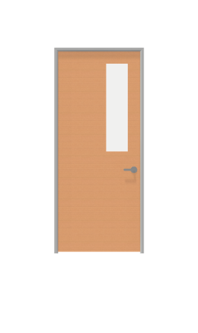 Illustration of glass insert view swing door from IMT