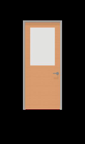 Illustration of half glass insert swing door from IMT